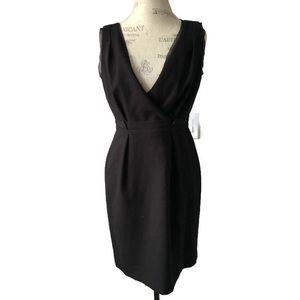 Ann Taylor LOFT Deep V Neck Black Sheath Dress